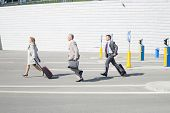 stock photo of carry-on luggage  - Side view of businesspeople with luggage walking on street - JPG