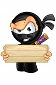 image of ninja  - An illustration of a sneaky looking cartoon Ninja character - JPG