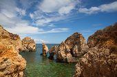 stock photo of lagos  - Famous cliffs on Ponta de Piedade Lagos Algarve Portugal - JPG