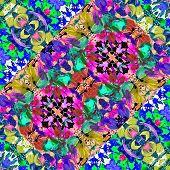 stock photo of vivid  - Digital collage technique vivid floral collage motif pattern in multicolored tones - JPG
