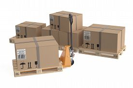 picture of jack-in-the-box  - pallet jack with cardboard box on pallets isolated on white background - JPG