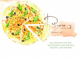 stock photo of recipe card  - card with painted watercolor pizza - JPG