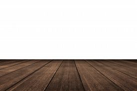 picture of wood  - Old vintage planked wood table in perspective on white background - JPG