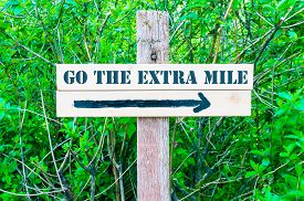 picture of mile  - GO THE EXTRA MILE written on Directional wooden sign with arrow pointing to the right against green leaves background - JPG