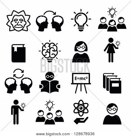 Knowledge, creative thinking, ideas vector icons set poster