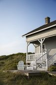 Coastal house with porch and deck on Bald Head Island, North Carolina.