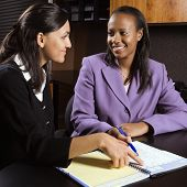African-American and Indian young adult smiling business women working together in office.