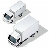 Vector delivery trucks isometric set