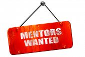 mentors wanted, 3D rendering, vintage old red sign poster