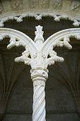 Ornate column on Jeronimos Monastery in Lisbon, Portugal.