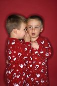 Young male twin child whispering to other twin.