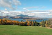 foto of moosehead  - moosehead lake view maine fall leaves lake mountain - JPG