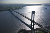 Aerial view of New York City's Verrazano-Narrow's bridge with ship.