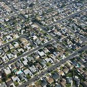 Aerial view of residential urban sprawl in southern California.