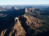 Aerial view of red rock formations in Sedona, Arizona.