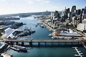 Aerial view of Darling Harbour in Sydney, Australia.