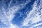 Beautiful blue sky with light wispy clouds.