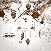 foto of taper  - Christmas hand drawn fur tree for xmas design - JPG