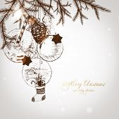 picture of taper  - Christmas hand drawn fur tree for xmas design - JPG