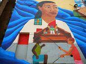 Colorful Neighborhood Mural Of Children Skipping Rope