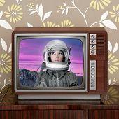 Space Odyssey Mars Astronaut On Retro 60S Tv