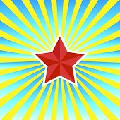 red star on a yellow-blue background vector