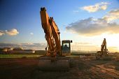 stock photo of heavy equipment  - construction site with heavy machinery  - JPG