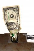 Cash Crunch Dollar Bill Crushed in Vise