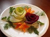 Food Decoration. Beet And Radish Roses