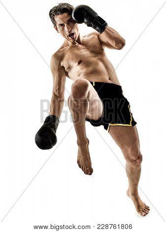one caucasian Muay Thai kickboxing