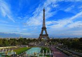 Eiffel Tower In Paris Scenic View With The Blue Sky In Summer,  Beautiful View Of Famous Eiffel Towe poster