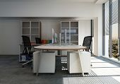 Empty workstation with desk and chairs in office room. 3d Rendering. poster