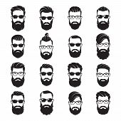 Set Of Vector Bearded Men Faces Hipsters With Different Haircuts, Mustaches, Beards, Sunglasses. Sil poster