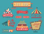 Circus Vintage Signboard Labels Banner Vector Illustration Entertaining Ticket Sign. Collection Of S poster