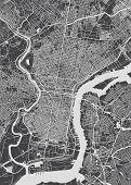 Philadelphia City Plan, Detailed Black And White Vector Map poster
