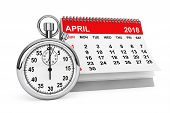 2018 Year Calendar. April Calendar With Stopwatch On A White Background. 3d Rendering poster