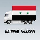 Symbol Of National Delivery Truck With Flag Of Syria. National Trucking Icon And Syrian Flag poster