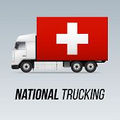 Symbol Of National Delivery Truck With Flag Of Switzerland. National Trucking Icon And Swiss Flag poster