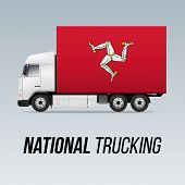 Symbol Of National Delivery Truck With Flag Of Isle Of Man. National Trucking Icon And Flag Design poster