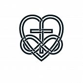 Immortal God Christian Love Conceptual Logo Design Combined With Infinity Loop Sign And Christian Cr poster