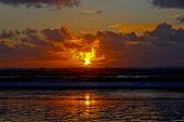 stock photo of beach sunset  - Seaside Oregon sunset after the spring storm - JPG
