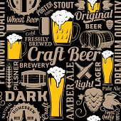 Typographic Vector Beer Seamless Pattern Or Background poster