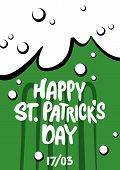 St. Patricks Day Poster. Lettering Happy St. Patricks Day In The Form Of A Beer Mug. Handwritten P poster