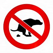 stock photo of pooping  - No dog poop isolated on white forbiddance sign - JPG