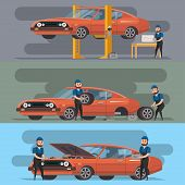 Tire Service And Car Repair Set. Mechanic In Uniform Repairing Automobile At Auto Service Garage, Ca poster