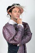 Mann in Tudor Kostüm Kostüm