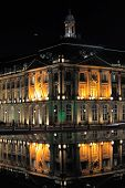 Place De La Bourse (1745-1747, Designed By Jacques-ange Gabriel) And Water Mirror At Night, Bordeaux