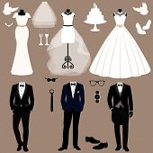 Постер, плакат: Wedding Card With The Clothes Of The Bride And Groom Wedding Set A Set Of Wedding Clothes Beautif