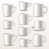 Cup Vector Empty Mugs For Coffee Or Tea For Branding And Simple Teacup Of Various Shapes Illustratio poster
