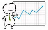 Happy trader and a chart with a rising blue arrow - vector illustration